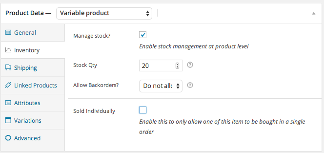 WooCommerce Inventory Variable Product