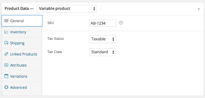 WooCommerce SKU variable Product